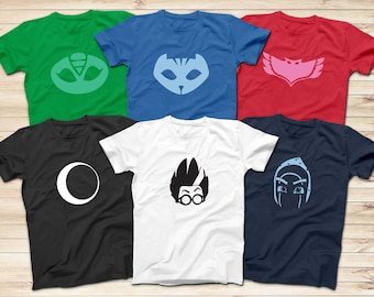 f8ae53e6 PJ masks hero logo T-Shirts, Gekko, Catboy, Owlette, Ninja, Luna, Romeo T- Shirt, Superhero Cartoon T-Shirt, Adult and Kids Superhero T-Shirt
