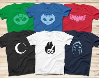 b1f0dda9 PJ masks hero logo T-Shirts, Gekko, Catboy, Owlette, Ninja, Luna, Romeo T- Shirt, Superhero Cartoon T-Shirt, Adult and Kids Superhero T-Shirt