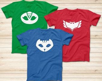 13be21fcb PJ masks hero logo T-Shirts, Catboy T-Shirt, Gekko T-Shirt, Owlette T-Shirt,  Superhero Cartoon T-Shirt, Adult and Kids Superhero T-Shirt