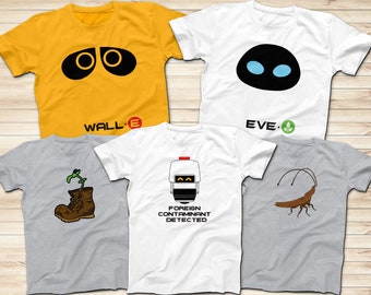 Wall-e, Eve, Plant in the Boot, MO, and Cockroach Disney Shirts, Wall-E Shirts, Family, Family Shirts, Short Sleeve Shirt, Disney Trip Shirt