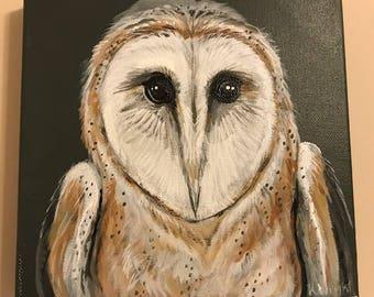 50% to Charity BARN OWL Original Art