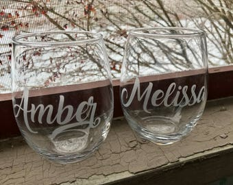 Etched Wine Glasses Etsy