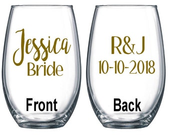 Personalized Wine Glass / Bachelorette Party / Bridal Party Wine Glasses / Wine Glass / Bridesmaid Gift / Wedding Wine Glasses