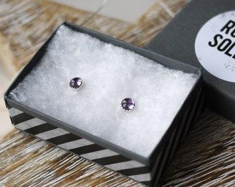 Amethyst bezel set frilled edge silver stud earrings handmade