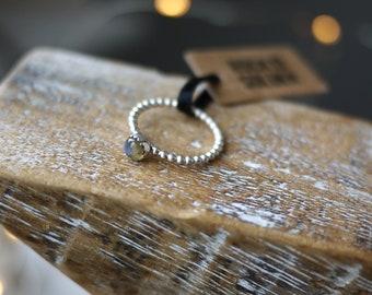 Labradorite ring dainty sterling silver stacker handmade