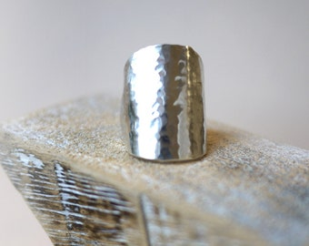 Handmade Hammered Vintage Solid Silver Spoon Ring