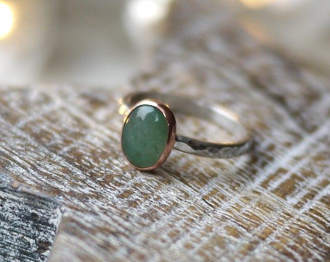 Aventurine Oval Handmade Ring in copper & sterling silver