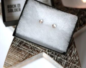 Rose Quartz sterling stud earrings
