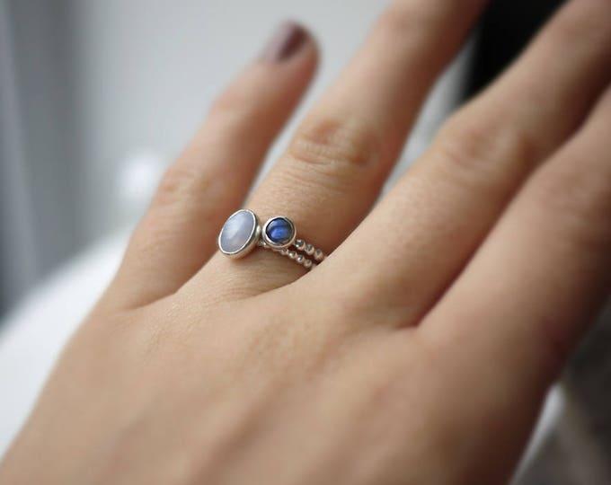 Labradorite ring sterling silver ring 5mm blue flash