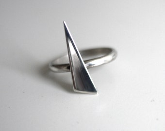 Spike asymmetrical triangle handmade sterling silver ring