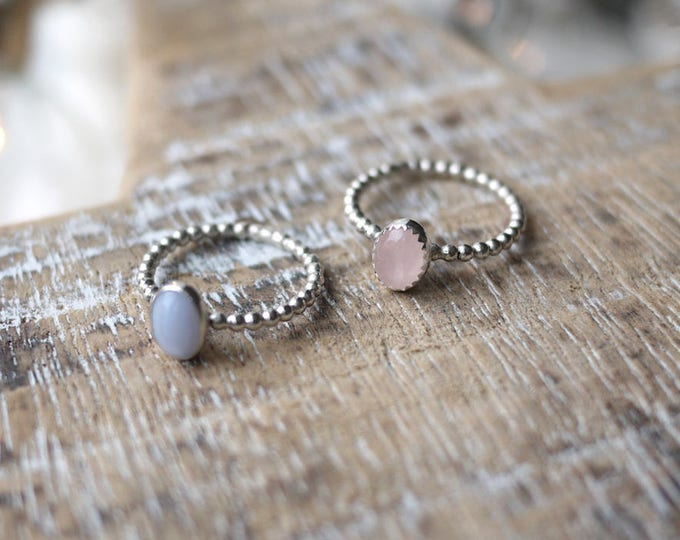 Dainty Rose Quartz Silver Oval Ring