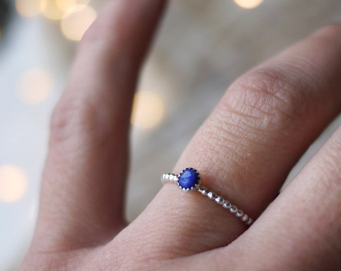 Lapis Lazuli dainty sterling silver stacker ring
