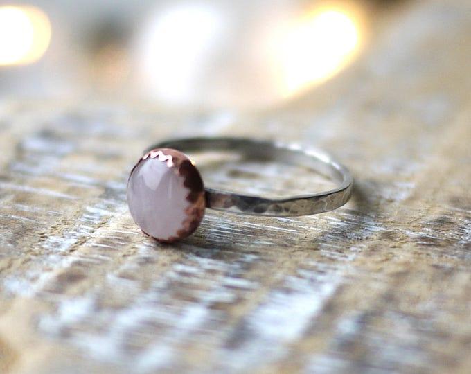 Rose Quartz Copper & Silver Handmade Ring 8mm