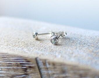Labradorite 4mm silver serrated bezel stud earrings handmade