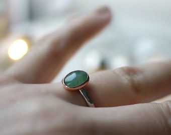 Aventurine Oval Handmade Ring in copper & sterling silver