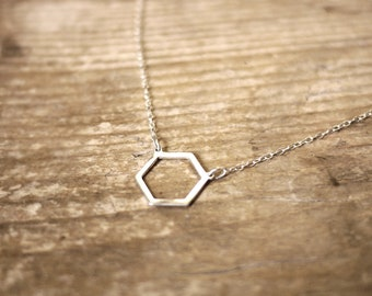 Bee hive silver necklace geometric handmade minimalist