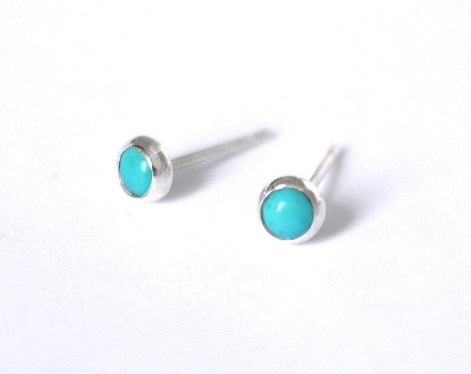 Turquoise 4mm stud earrings