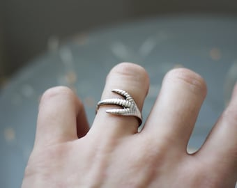 Birds Claw Sterling Silver Adjustable Ring - handmade Up-cycled