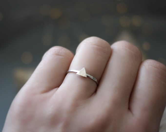 Triangle Minimalist Ring Hammered Silver Geometric