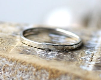 Thin stacked ring 1.5mm Dainty Hammered Sterling Silver