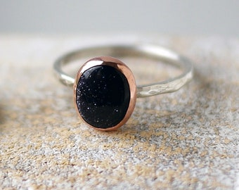 Blue Goldstone handmade oval ring in copper & sterling silver