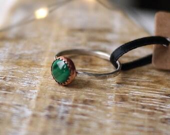 Malachite Green Copper Silver Handmade Ring 8mm