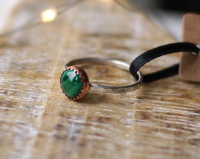 Malachite Green Copper Silver Handmade Ring 8mm