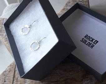 Loop dangle hammered sterling silver handmade drop earrings