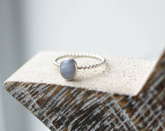 Blue Late Agate Sterling Silver Oval stacker ring