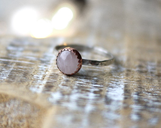 Rose Quartz Copper Silver Ring Handmade