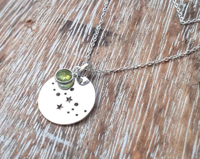 Virgo Necklace Constellation pendant peridot
