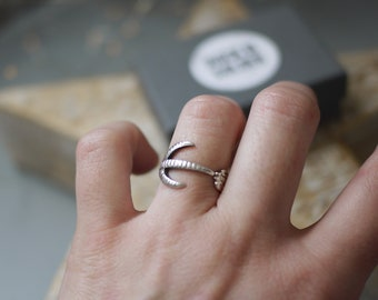 Birds Claw Ring Ornate Flowers - Sterling Silver Adjustable Ring