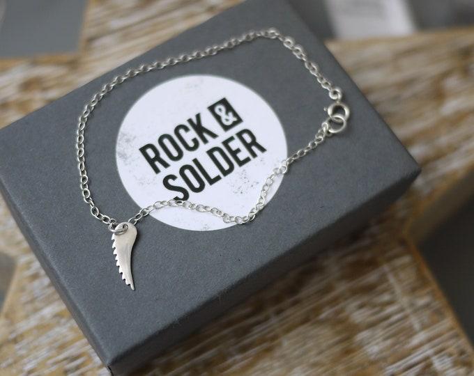 Wing bracelet dainty silver charm bracelet