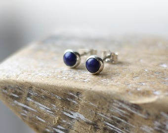 Lapis Lazuli 5mm silver stud earrings