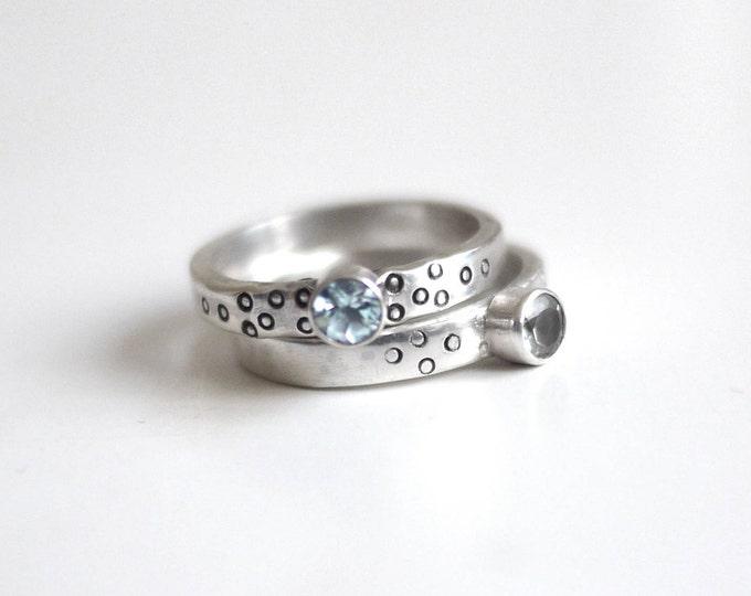 Sky Blue Topaz Spotty Sterling Silver Handmade Ring with spots