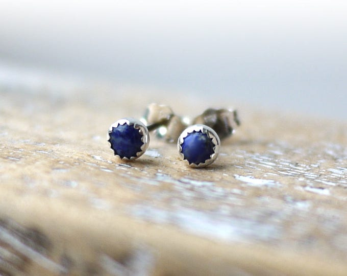 Lapis Lazuli dainty 4mm serrated bezel silver stud earrings