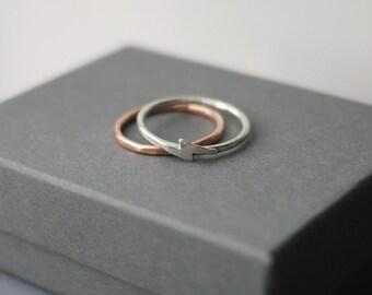 Lightening weather themed unisex sterling silver stacker ring handmade
