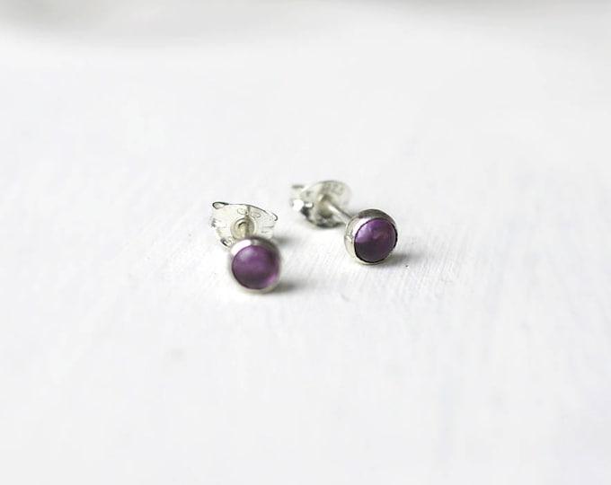 Purple amethyst 4mm silver stud bezel set earrings handmade