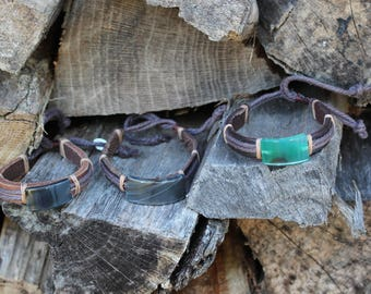 Faux Leather Bracelets with Glass Accents