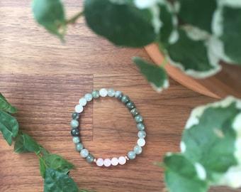 Green Quartz + Rose Quartz Gemstone Bracelet