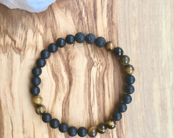 Tigers Eye + Black Onyx + Lava Stone Bracelet, Diffuser Bracelet
