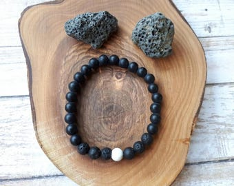 Black Onyx + White Howlite + Lava stone bracelet, Diffuser bracelet