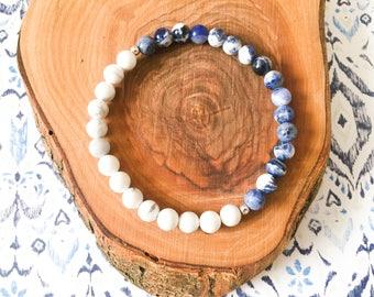 Sodalite + White Howlite gemstone bracelet