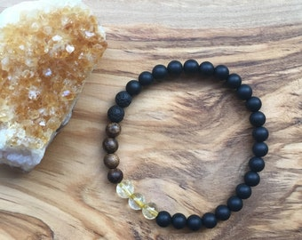 Black Onyx + Citrine + Sandalwood + Lava Stone Bracelet, Diffuser Bracelet