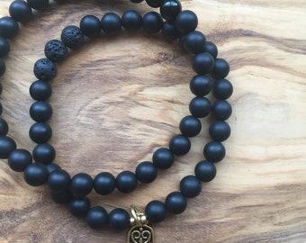 Black Onyx + Lava stone Hamsa Bracelet, Diffuser Bracelet, Charm Bracelet
