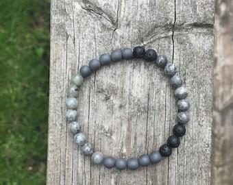Picture Jasper + Hematite + Labradorite + Lava stone Bracelet, Diffuser Bracelet