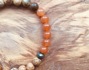 Picture Jasper + Orange Aventurine + Pyrite + Cedarwood, Diffuser bracelet, Goodluck