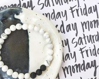 Lava stone + White Howlite gemstone diffuser bracelet