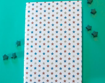 Red White & Blue Stars pattern A5 Notebook, saddle stitched sketchbook, jornal, 40 pages