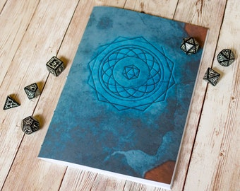 Dungeons and Dragons spell book journal A5 DnD notebook / sketchbook, 40 pages, RPG, tabletop gaming, dice, magic, spell cards